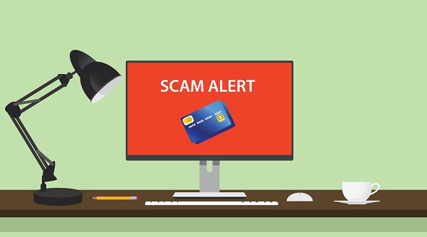 spam alert and danger illustration with computer credit card
