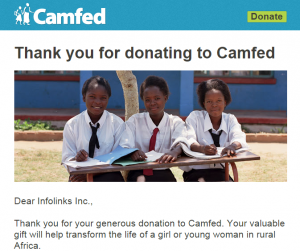 Campaign for Female Education Infolinks donation