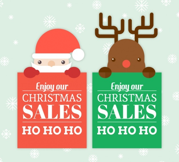 santa-claus-and-reindeer-banners-in-flat-design_23-2147585431
